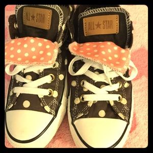 Sneakers Tennis Shoes Polka Dot Pink And Brown